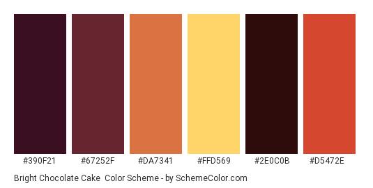 Bright Chocolate Cake - Color scheme palette thumbnail - #390f21 #67252f #da7341 #ffd569 #2e0c0b #d5472e