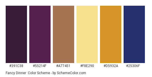 Fancy Dinner - Color scheme palette thumbnail - #391c38 #55214f #a77451 #f8e290 #d5932a #25306f