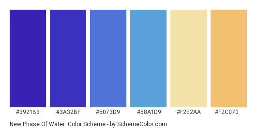 New Phase of Water - Color scheme palette thumbnail - #3921B3 #3A32BF #5073D9 #58A1D9 #F2E2AA #F2C070
