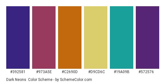 Dark Neons - Color scheme palette thumbnail - #392581 #973a5e #c2690d #d9cd6c #19a09b #572576