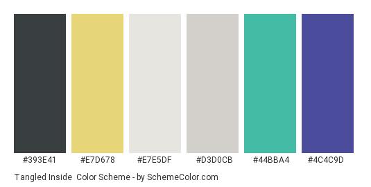 Tangled Inside - Color scheme palette thumbnail - #393E41 #E7D678 #E7E5DF #D3D0CB #44BBA4 #4C4C9D
