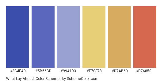 What Lay Ahead - Color scheme palette thumbnail - #3B4EA9 #5B66BD #99A1D3 #E7CF78 #D7AB60 #D76850