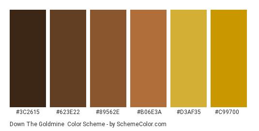 Down the Goldmine - Color scheme palette thumbnail - #3C2615 #623E22 #89562E #B06E3A #d3af35 #c99700