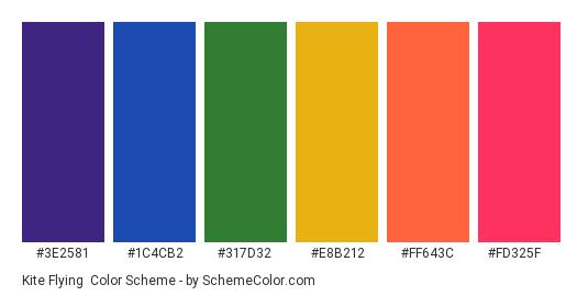 Kite Flying - Color scheme palette thumbnail - #3E2581 #1C4CB2 #317D32 #E8B212 #FF643C #FD325F