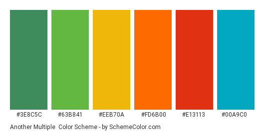 Another Multiple - Color scheme palette thumbnail - #3E8C5C #63B841 #eeb70a #fd6b00 #e13113 #00a9c0