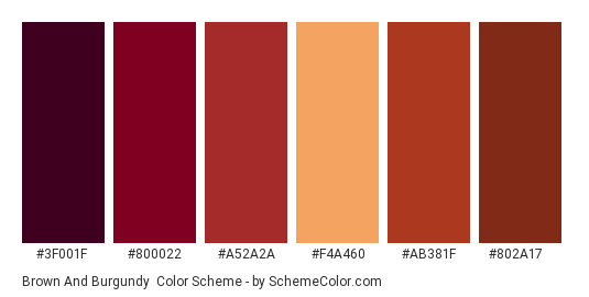 Brown and Burgundy - Color scheme palette thumbnail - #3F001F #800022 #A52A2A #F4A460 #AB381F #802A17
