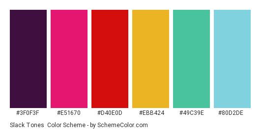 Slack tones - Color scheme palette thumbnail - #3F0F3F #E51670 #D40E0D #EBB424 #49C39E #80D2DE