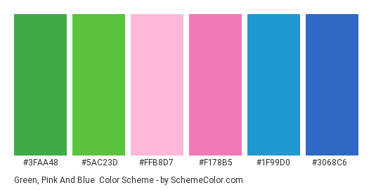 Green, Pink and Blue - Color scheme palette thumbnail - #3FAA48 #5AC23D #FFB8D7 #F178B5 #1F99D0 #3068C6