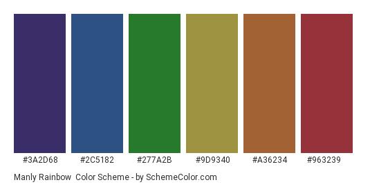 Manly Rainbow - Color scheme palette thumbnail - #3a2d68 #2c5182 #277a2b #9d9340 #a36234 #963239