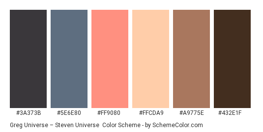 Greg Universe – Steven Universe - Color scheme palette thumbnail - #3a373b #5e6e80 #ff9080 #ffcda9 #a9775e #432e1f