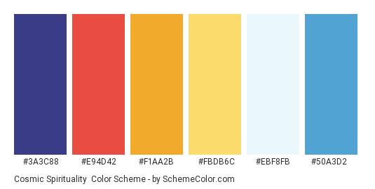 Cosmic Spirituality - Color scheme palette thumbnail - #3a3c88 #e94d42 #f1aa2b #fbdb6c #ebf8fb #50a3d2