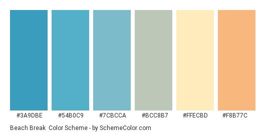 Beach Break - Color scheme palette thumbnail - #3a9dbe #54b0c9 #7cbcca #bcc8b7 #ffecbd #f8b77c