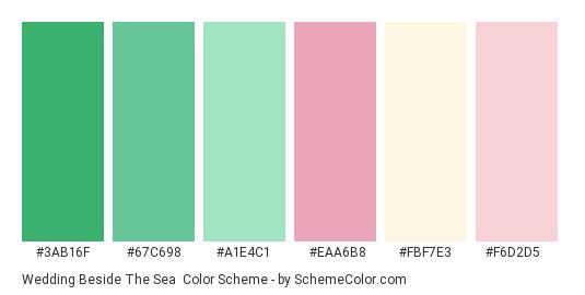 Wedding Beside the Sea - Color scheme palette thumbnail - #3ab16f #67c698 #a1e4c1 #eaa6b8 #fbf7e3 #f6d2d5