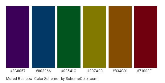 Muted Rainbow - Color scheme palette thumbnail - #3b0057 #003966 #00541c #807a00 #834c01 #71000f
