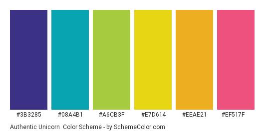 Authentic Unicorn - Color scheme palette thumbnail - #3b3285 #08a4b1 #a6cb3f #e7d614 #eeae21 #ef517f