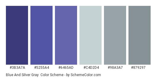 Blue and Silver Gray - Color scheme palette thumbnail - #3b3a7a #5255a4 #6465ad #c4d2d4 #98a3a7 #879297