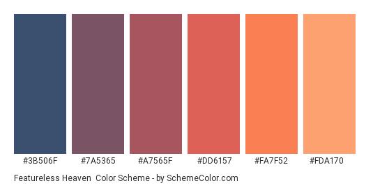 Featureless Heaven - Color scheme palette thumbnail - #3b506f #7a5365 #a7565f #dd6157 #fa7f52 #fda170