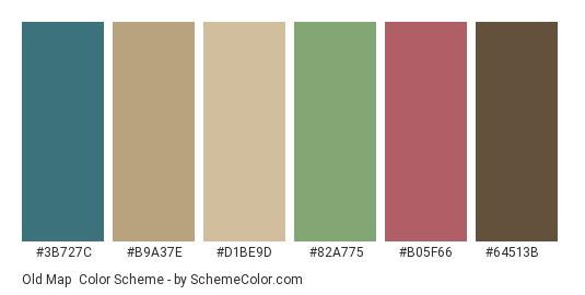 Old Map - Color scheme palette thumbnail - #3b727c #b9a37e #d1be9d #82a775 #b05f66 #64513b