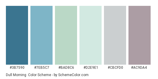 Dull Morning - Color scheme palette thumbnail - #3b7590 #7eb5c7 #bad8c6 #d2e9e1 #cbcfd0 #ac9da4