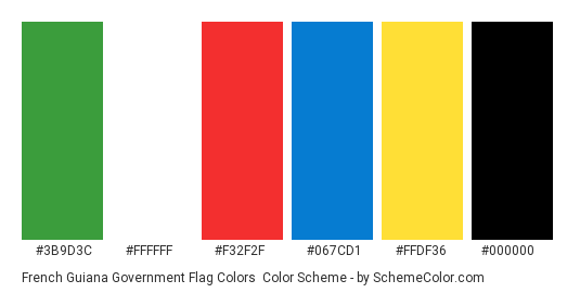 French Guiana Government Flag Colors - Color scheme palette thumbnail - #3b9d3c #ffffff #f32f2f #067cd1 #ffdf36 #000000