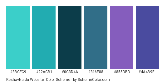 KeshavNaidu Website - Color scheme palette thumbnail - #3bcfc9 #22acb1 #0c3d4a #316e88 #855dbd #4a4b9f