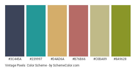 Vintage Pixels - Color scheme palette thumbnail - #3c445a #239997 #d4ad6a #b76b66 #c0ba89 #8a9628