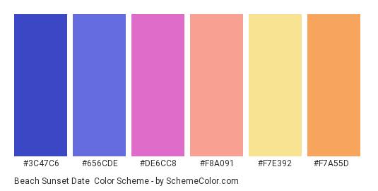 Beach Sunset Date - Color scheme palette thumbnail - #3c47c6 #656cde #de6cc8 #f8a091 #f7e392 #f7a55d