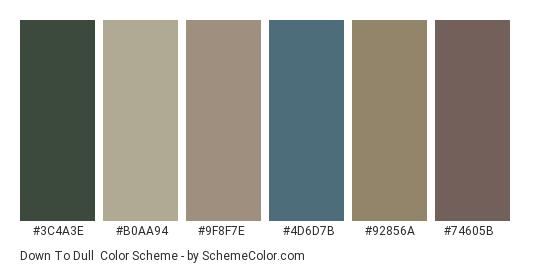 Down to Dull - Color scheme palette thumbnail - #3c4a3e #b0aa94 #9f8f7e #4d6d7b #92856a #74605b