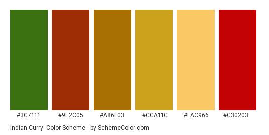 Indian Curry - Color scheme palette thumbnail - #3c7111 #9e2c05 #a86f03 #cca11c #fac966 #c30203