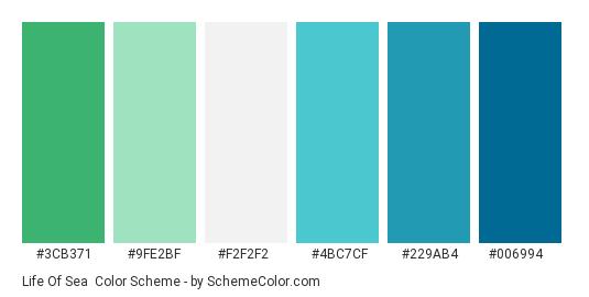 Life of Sea - Color scheme palette thumbnail - #3cb371 #9fe2bf #f2f2f2 #4bc7cf #229ab4 #006994