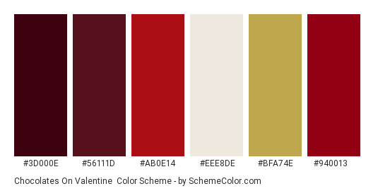 Chocolates on Valentine - Color scheme palette thumbnail - #3d000e #56111d #ab0e14 #eee8de #bfa74e #940013