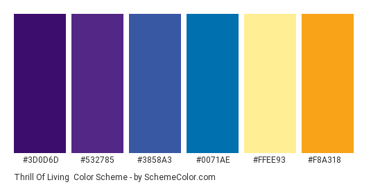 Thrill of Living - Color scheme palette thumbnail - #3d0d6d #532785 #3858a3 #0071ae #ffee93 #f8a318