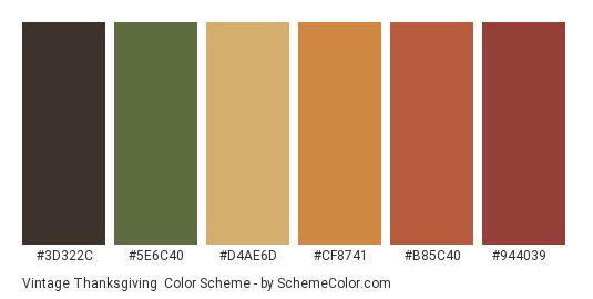 Vintage Thanksgiving - Color scheme palette thumbnail - #3d322c #5e6c40 #d4ae6d #cf8741 #b85c40 #944039
