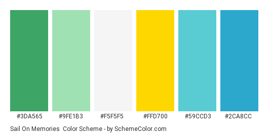 Sail on Memories - Color scheme palette thumbnail - #3da565 #9fe1b3 #f5f5f5 #ffd700 #59ccd3 #2ca8cc