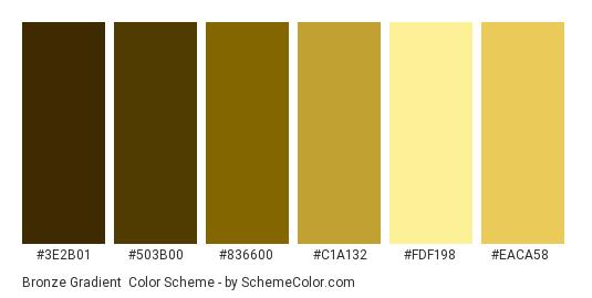 Bronze Gradient - Color scheme palette thumbnail - #3e2b01 #503b00 #836600 #c1a132 #fdf198 #eaca58