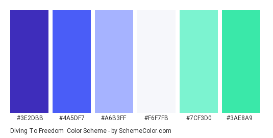 Diving to Freedom - Color scheme palette thumbnail - #3e2dbb #4a5df7 #a6b3ff #f6f7fb #7cf3d0 #3ae8a9