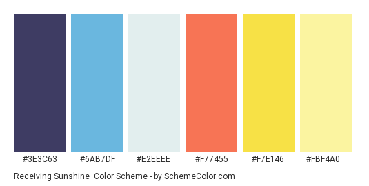 Receiving Sunshine - Color scheme palette thumbnail - #3e3c63 #6ab7df #e2eeee #f77455 #f7e146 #fbf4a0