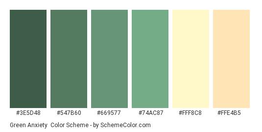 Green Anxiety - Color scheme palette thumbnail - #3e5d48 #547b60 #669577 #74ac87 #fff8c8 #ffe4b5