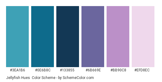Jellyfish Hues - Color scheme palette thumbnail - #3ea1b6 #0e6b8c #133855 #6b669e #bb90c8 #efd8ec