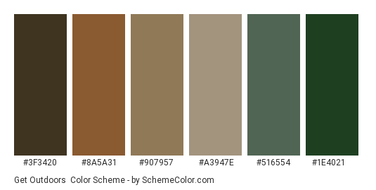 Get Outdoors - Color scheme palette thumbnail - #3f3420 #8a5a31 #907957 #a3947e #516554 #1e4021