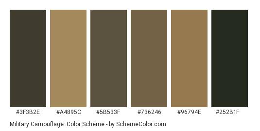 Military Camouflage - Color scheme palette thumbnail - #3f3b2e #a4895c #5b533f #736246 #96794e #252b1f