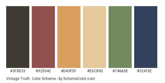 Vintage Truth - Color scheme palette thumbnail - #3f3b33 #92504c #da9f5f #e6c89d #748a5e #32415e