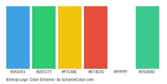 Bitmoji Logo - Color scheme palette thumbnail - #3fa1e3 #2ecc71 #f1c40e #e74c3c #ffffff #39cb8d