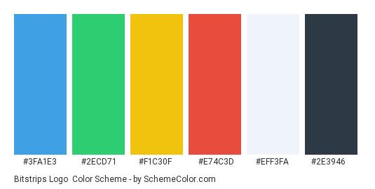 Bitstrips Logo - Color scheme palette thumbnail - #3fa1e3 #2ecd71 #f1c30f #e74c3d #eff3fa #2e3946