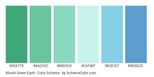 Bluish Green Earth - Color scheme palette thumbnail - #3fa778 #6ac59c #88d9c0 #c6f4ef #82d1e7 #5b9dcd