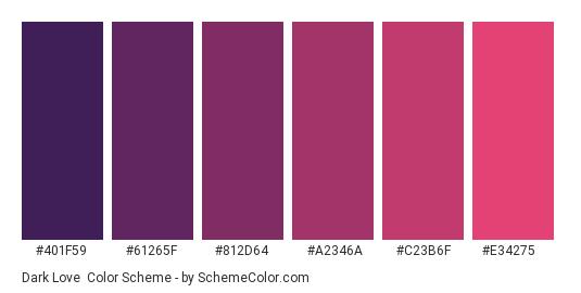 Dark Love - Color scheme palette thumbnail - #401F59 #61265F #812D64 #A2346A #C23B6F #E34275