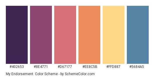 My Endorsement - Color scheme palette thumbnail - #402653 #8E4771 #D67177 #EE8C5B #FFD887 #5684A5