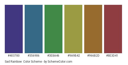 Sad Rainbow - Color scheme palette thumbnail - #403780 #356986 #3e8a46 #9a9b42 #966b2d #8e3d41
