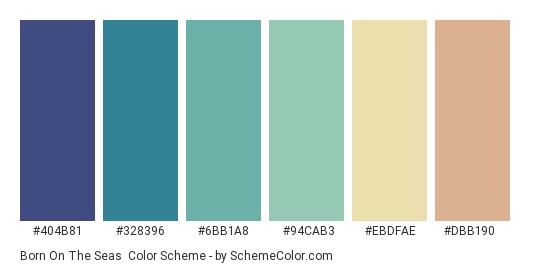 Born on the Seas - Color scheme palette thumbnail - #404b81 #328396 #6bb1a8 #94cab3 #ebdfae #dbb190