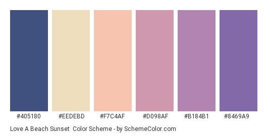 Love a Beach Sunset - Color scheme palette thumbnail - #405180 #eedebd #f7c4af #d098af #b184b1 #8469a9